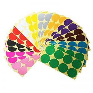LJY 50mm rond à pois Étiquettes autocollants CODE de couleur, 12 étiquettes à pois Couleurs assorties, 24 feuilles différentes de la marque LJY image 0 produit