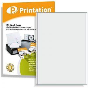 Lot de 100 étiquettes 200 x 297 mm (dIN a4)-autocollantes-blanc - 100 feuilles a4 1 x 1 200 x 297 3418 - de la marque Printation image 0 produit