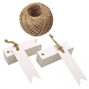 Lot de 100étiquettes en papier kraft avec ficelle Craft Étiquettes Cadeau Mini Taille 7cm x 2cm Brun Étiquettes de mariage avec 30m de ficelle en jute blanc de la marque jijAcraft image 0 produit