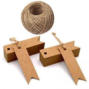 Lot de 100étiquettes en papier kraft avec ficelle Craft Étiquettes Cadeau Mini Taille 7cm x 2cm Brun Étiquettes de mariage avec 30m de ficelle en jute marron de la marque jijAcraft image 0 produit