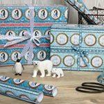 Lot de 3 feuilles de papier cadeau de Noël en forme de pingouin avec aby dans un bleu glacé pour Noël et la période de l'Avent Papier de Noël pour cadeaux de Noël, calendrier de l'Avent etc. (Format : 50 x 70 cm) de la marque Grußkarte mit Herz image 2 produit