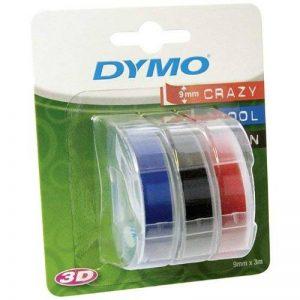 Lot de 3 prägeband dYMO omega 3D, noir, bleu, rouge 9 mm dYMO cassette de ruban de 3mtr. de la marque DYMO image 0 produit