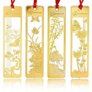 Lot de 4marque-pages chinois en métal Motif creux Doré de la marque Amupper image 0 produit