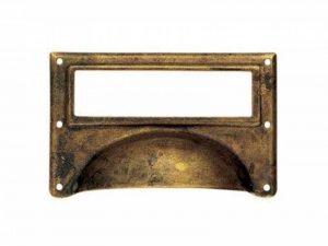 Lot de 4 poignées de porte ou tiroir de meuble en laiton rouillé 80X50 mm, avec porte étiquette de la marque poignee-porte image 0 produit