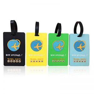 Lot de 4 étiquettes de valise souple incassable ✮ Travel Earth ✮ Ensemble de 4 étiquettes bagage de voyage pour sac ou valise. 30 porte-nom personnalisés à télécharger + Sangle de fixation incluse ! de la marque Travel Earth image 0 produit
