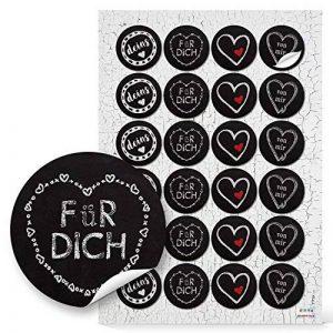 """Lot de 48 autocollants ronds en papier pour cadeau de Noël Motif cœur Noir/rouge et blanc Pour inscription en allemand""""Dich vin Mir Deins"""" Avec inscription en allemand « Give-away » 4 cm de la marque Logbuch-Verlag image 0 produit"""