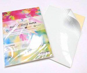 Lot de 50 feuilles de papier d'impression autocollantes - Format A4 - Blanc brillant de la marque EVG Home & Office Supplies image 0 produit