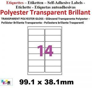 Lots de 15 planches de 14 étiquettes TRANSPARENTES 99.1 x 38.1 autocollantes en polyester transparent brillant. Étiquettes adhésives pour imprimante laser solides et résistantes aux intempéries, indéchirable forte adhésion - résistant à l'eau, huiles et g image 0 produit