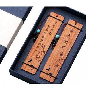 Marque-page en bois naturel fait à la main signets cadeaux avec pompon # 4 de la marque Black Temptation image 0 produit