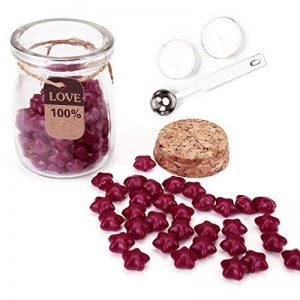Mogoko - 120 perles de cire à cacheter en forme d'étoiles, avec 1 cuillère à fondre la cire et 2 bougies de la marque Mogoko image 0 produit