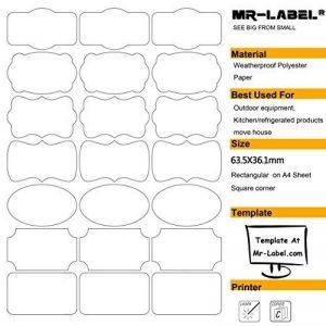 Mr-Label® 7 Types de Fantaisie Forme imperméable Etiquettes adhésives amovibles - Stickers résistant à la déchirure pour la cuisine Utilisation | Bouteilles | Stockage | D'organisation et de dépôt (Taille: 63.5 * 36.1mm) (10 feuilles / totalement 210 étiq image 0 produit