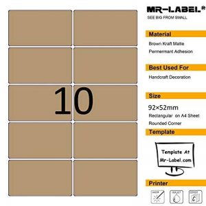 Mr-label Blank Label Kraft Brown Autocollant - Rectangle arrondi, Permanent auto-adhésif, Matt, Laser / Jet d'encre - pour l'artisanat, cadeaux, pâtisseries maison Paquet, Envelope Seals - 250 étiquettes - 25 feuilles A4 de la marque Mr-Label image 0 produit