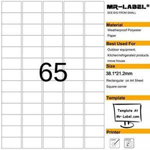 Mr-Label® étanches Etiquettes adhésives amovibles - durables autocollants indéchirables pour Cuisine utilisation | maisons de ventes | Fabrication et stockage | Organisation et dépôt (Taille: 23.2*38.1mm) (25 feuilles / totalement 1625 étiquettes) de la m image 0 produit