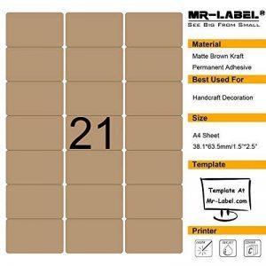 Mr-label vierge Brown Kraft étiquettes–63.5x 38.1mm–pour imprimante laser et jet d'encre–Feuilles A4 10 sheets/210 labels de la marque Mr-Label image 0 produit