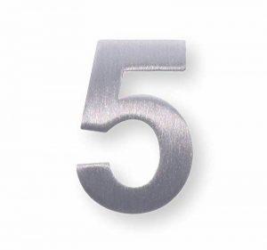 Métal Nombre de 5, acier inoxydable brossé–Hauteur 4cm, étiquette, porte étiquette/Paragraphe mural, numéro–Autocollant de la marque dieHolding image 0 produit