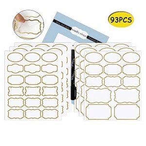 Nardo Visgo Transparent Autocollants transparents avec bordure dorée à la mode, étiquettes transparentes imperméables imperméables à l'eau dans des tailles variées pour les bocaux, les conteneurs de stockage ou la décoration artisanale, 93pcs de la marque image 0 produit