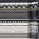 Noir et blanc Washi Tape, DIY 15mm × 10m ruban de masquage décoratif Deco de masquage, japonais de papier Washi pour loisirs créatifs, scrapbooking, jour, l'Ordre, et motif de décoration, Lot de 12rouleaux de la marque SUNREEK image 3 produit