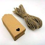 NUOLUX 100pcs coeur creux Kraft papier cadeau Tags mariage faveurs parti avec 10M de corde (brun) de la marque NUOLUX image 2 produit