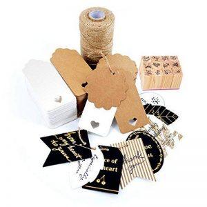 Okaytec Set 304pcs Décoration DIY — 300pcs Etiquettes kraft Brunes et Blanche + 2 Cartes de Vœux+ 1 corde chanvre pour cadeau + 1 Kit Timbre de la marque Okaytec image 0 produit