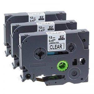 Pack de 3 Ruban Cassette Laminé Noir sur Transparent Compatible avec Brother TZe-131/TZ-131 / 12mm x 8m / pour Brother P-Touch 1000W 1010 1090 1830VP 2030VP 2100VP 2430PC 2470 2730VP 7100 VP7600VP H100R H300 D200VP et Autres P-Touch Étiqueteuse de la marq image 0 produit