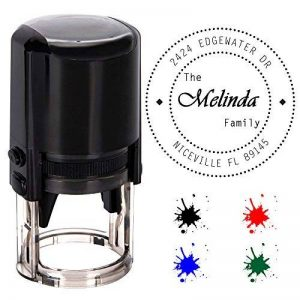 Personnalisée Stamp ronde auto-encreur, personnalisé Stamp-diameter 40 mm Tampons en caoutchouc avec 4 en option d'encre Colours-Noir, Rouge, Bleu,Vert de la marque Aolun image 0 produit
