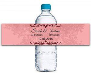 """Personnalisés bouteille d'eau étiquettes adhésives autocollants personnalisés Mariage 8 """"x 2"""" pouces imperméables - 30 étiquettes de la marque Printtoo image 0 produit"""