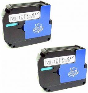 Printing Pleasure M K23112mm x 8m Label Tapes pour Brother P-Touch Pt-80/PT-90/Pt-100/Pt-110/PT-55/Excellents Résultats/Pt-70/Pt-80/un Label Impression Machines–Noir sur Blanc (lot de 10) -P Lot de 2 Noir sur blanc de la marque Printing Pleasure image 0 produit