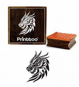 Printtoo Dragon Head motif carré Tampon en caoutchouc en bois Timbres-2 Crafting Textile x 2 pouces de la marque Printtoo image 0 produit