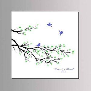 Qiulv Branche Empreinte Digitale Signature Livre D'Or Toile DIY Oiseau La Peinture Se Connecter Personnalisé Douane Mariage Mariage Anniversaire Fête Anniversaire Cadeau Décoration,40*40Cm de la marque Qiulv image 0 produit