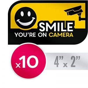 Quality Clever Résistant aux Rayons UV, Aucune étiquette d'Avertissement Sécurité CCTV Fade - 10 X Sourire, Vous Êtes sur Les Autocollants de l'Appareil Photo de la marque Quality Clever image 0 produit