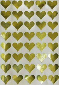 Royal Vert Doré Cœur métallique Autocollant enveloppe joints–Or Code couleur étiquettes adhésif permanent–Lot de 200 de la marque Royal Green image 0 produit