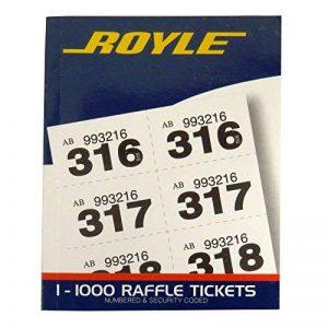 Royle, tombola, prix de loterie, dessiner vestiaire Ticket livre–1à 1000–Code de sécurité–Taille 110mm x 135mm de la marque Royle image 0 produit