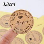 SERWOO (300pcs) 25 Feuilles de Rond Merci Autocollants avec Coeur -Fait Main avec Amour & Spécialement pour Vous Stickers Etiquettes pour Mariage Cadeau ou Enveloppe(Dia : env.3,8cm) de la marque SERWOO image 1 produit