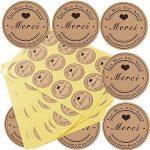 SERWOO (300pcs) 25 Feuilles de Rond Merci Autocollants avec Coeur -Fait Main avec Amour & Spécialement pour Vous Stickers Etiquettes pour Mariage Cadeau ou Enveloppe(Dia : env.3,8cm) de la marque SERWOO image 2 produit