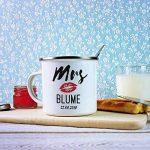 Set de 2 Tasses en INOX Émaillé avec Moustache Imprimée - Standard ou Personnalisées avec [Nom] et [Date] - Mr(s) & Mr(s) Right - Rétro - Mugs de Voyage pour Couples - Cadeau de Mariage de la marque TassenWerk image 4 produit