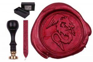Set de matériaux d'estampage « Sigillum » gravure motif dragon + 1 bâton de cire à cacheter dans un paquet cadeau : de la marque gravurART image 0 produit
