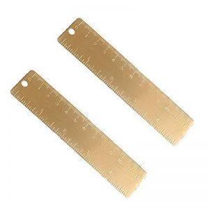 """Shuxy Règle en laiton doré Règle droite maniable Marque-page en cuivre vintage Cm pouce double échelle gravé 4,72""""(12cm) Lot de 2 de la marque Shuxy image 0 produit"""