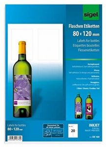 Sigel DE160 Lot de 20 Étiquettes bouteilles personnalisables, autocollants, 8 x 12 cm de la marque Sigel image 0 produit
