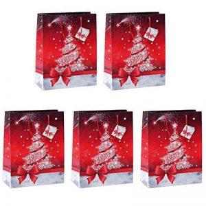 Sigel GT022 Lot de 5 sacs cadeaux Noël, 33 x 26 cm, rouge et blanc de la marque Sigel image 0 produit