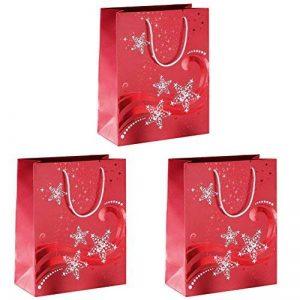 Sigel GT107 Lot de 3 sacs cadeaux Noël, 33 x 26 cm, rouge et blanc de la marque Sigel image 0 produit