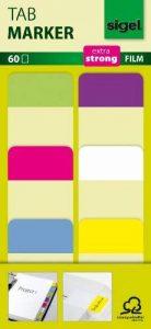 """Sigel HN203 Marque-pages rigides""""Tab Marker"""" en film transparent, 60 feuilles de 3,8 x 2,5 cm, 6 couleurs de la marque Sigel image 0 produit"""