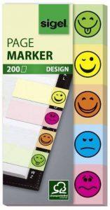 Sigel HN502 Marque-pages Smiley en papier, 200 feuilles de 5 x 2 cm, 5 couleurs de la marque Sigel image 0 produit