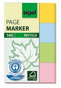 Sigel HN604 Marque-pages en papier 100% recyclé, 160 bandes de 5 x 2 cm, 4 couleurs de la marque Sigel image 0 produit