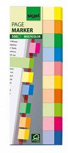 Sigel HN650 Marque-pages adhésifs en papier, 500 feuilles de 5 x 1,5 cm, 10 couleurs de la marque Sigel image 0 produit