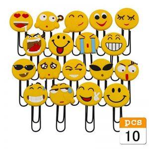 Signets mignonnes d'Emoji, marque-page de Paperclip drôle, marqueur de livre d'émoticône de nouveauté pour des enfants, filles, garçons. Étudiant (aléatoire 10PCS) de la marque whatUneed image 0 produit