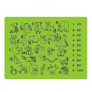 Silicone Alimentaire fausses Sets de table pour les tout-petits/bébés/enfants/enfants–100% sans BPA et Approuvé par la FDA–Ludique et éducatif Sets de table–30,5x 40,6cm, Vert en Jamhoo de la marque JamHoo image 0 produit