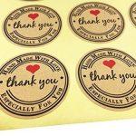 T-shin 60pcs en forme de cœur à imprimer enveloppes Stickers rétro métallique Thank You papier kraft carte Stickers DIY décoratif adhésif autocollant Label pour emballage cadeau fête de mariage Bake Décoration de la marque T-shin image 1 produit
