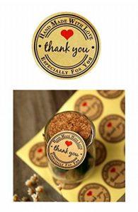 T-shin 60pcs en forme de cœur à imprimer enveloppes Stickers rétro métallique Thank You papier kraft carte Stickers DIY décoratif adhésif autocollant Label pour emballage cadeau fête de mariage Bake Décoration de la marque T-shin image 0 produit