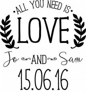 Tampon de mariage personnalisé–Tout ce dont vous avez besoin est Amour de la marque Fairydust image 0 produit