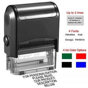 Tampon encreur, personnalisée, 38 x 14 mm, 3 lignes de texte Tampons en caoutchouc pour les enseignants, enfants, infirmières, médecins avec 4 en option d'encre Colours-Noir, Rouge, Bleu, Vert de la marque Aolun image 0 produit